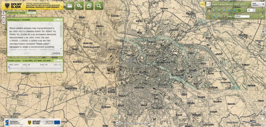 Stare niemieckie mapy na dolnośląskim Geoportalu